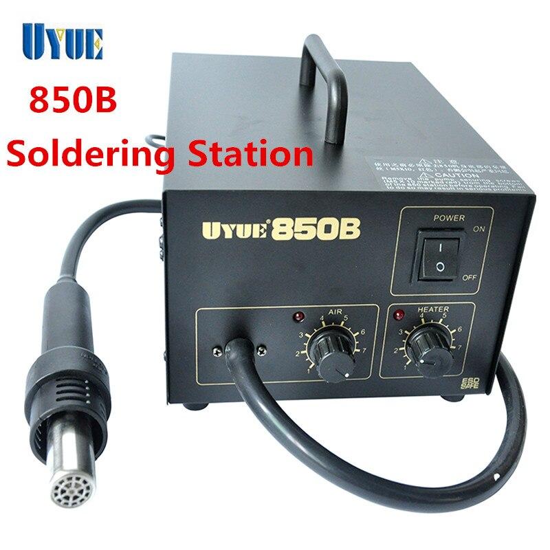 UYUE 850B Rework Desoldering Soldering Station with Heat Hot air Gun SMD ESD Tips BGA Hot Air 3 Nozzles Soldering Iron  цены