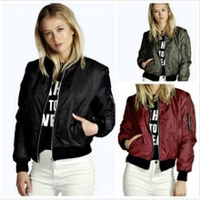 купить 2019 Autumn Jacket Women Long Sleeve Basic Coats Bomber Women Casual Short Women Outerwear Coat Casual Stand Collar Outerwear дешево