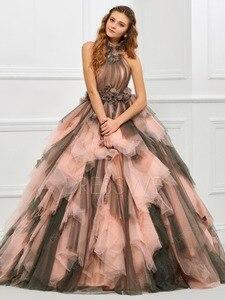 Image 2 - 빈티지 핑크와 블랙 두 톤 1950 s 컬러 웨딩 드레스와 컬러 프릴 tulle 볼 가운 고딕 웨딩 드레스