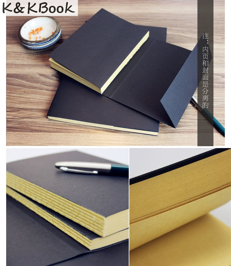 K&KBOOK Vintage Kraft Paper Blank Pages Sketch Book Stationery  Diary Book Student Gift Notebook