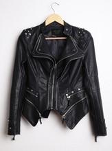 South Korea Women's New Autumn Fashion Rivet Jacket Short Design Motorcycle PU Leather Zipper Jackets Large Size S-6XL