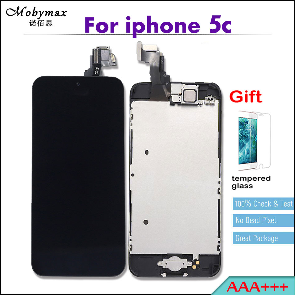 Grade AAA+++ LCD Full Assembly For Apple iPhone 5C Touch Screen Digitizer Display+Home Button+Front Camera+Frame+Gift freeship
