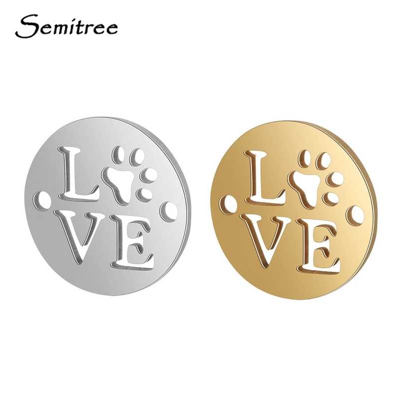 Semitree 5pcs Stainless Steel Love Dog Paw Connectors Bracelet Bangle Charms Pendant DIY Jewelry Making Handicraft Accessories