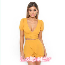Short Sleeve V Neck Two Pieces Set Women Playsuits Sexy Casual Romper Yellow Jumpsuit Laipelar