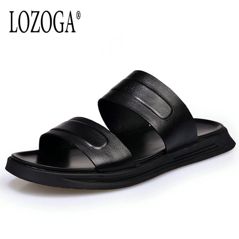 Lozoga Men Sandals Genuine Leather Casual Shoes Luxury Quality Summer Beach Shoes Black New Mens Brand Designer Shoes Size 38-44