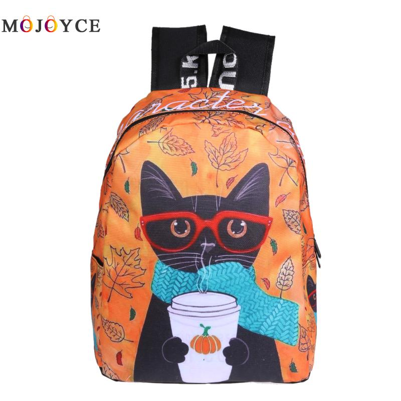 Original Graffiti Style Backpacks lovely cat Canvas Shoulder Bag Oxford School Backpaks for Teenagers Girls Boys bolsa feminina