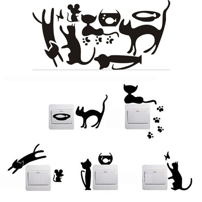 Wallpaper Sticker HOT 5pcs Removable Cute Lovely Cat Switch Wall Sticker Vinyl Decal Home Decor Wallpapers For Living Room B#