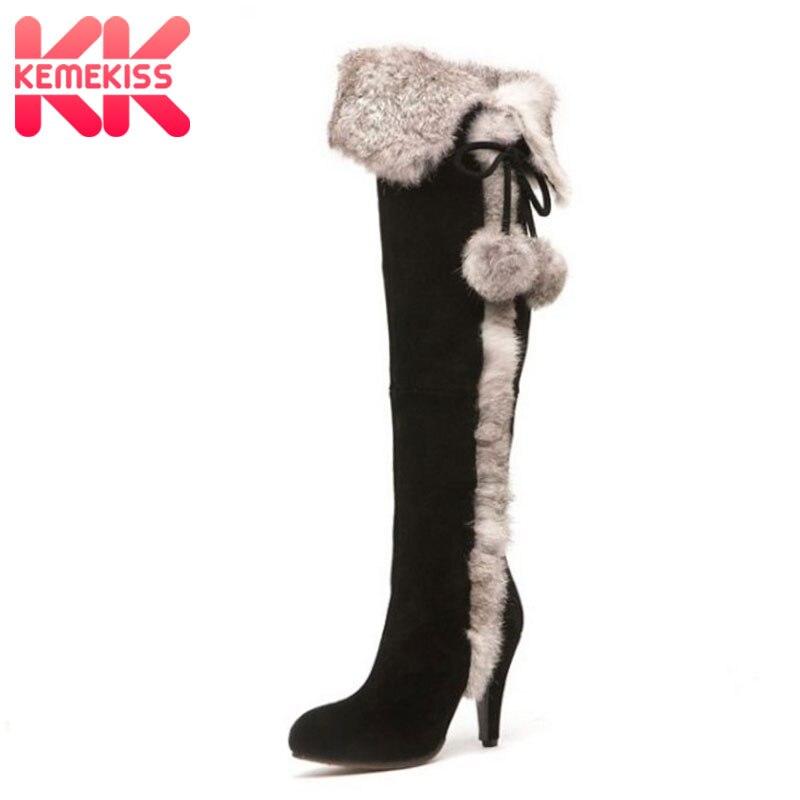 5ccc57d8 KemeKiss mujeres de cuero real de tacón alto sobre la rodilla botas largas  de nieve de algodón ...