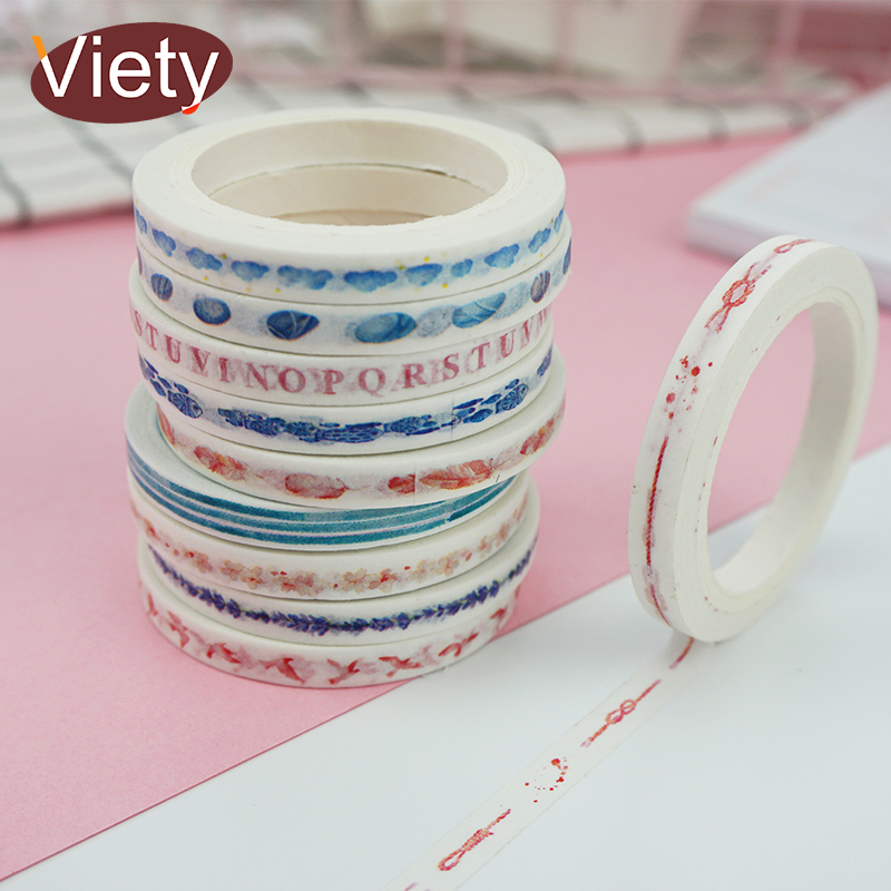 0.5cm*7m Cartoon Fresh Slim Washi Tape DIY Decoration Scrapbooking Planner Masking Tape Adhesive Tape Label Sticker Stationery