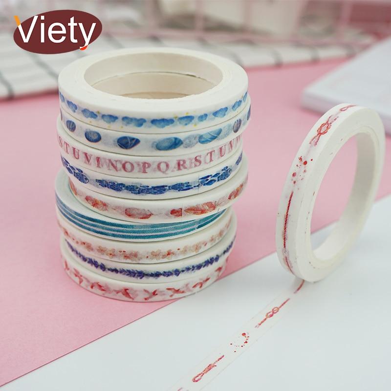 0.5cm*7m Cartoon Fresh Slim Washi Tape DIY Decoration Scrapbooking Planner Masking Tape Adhesive Tape Label Sticker Stationery
