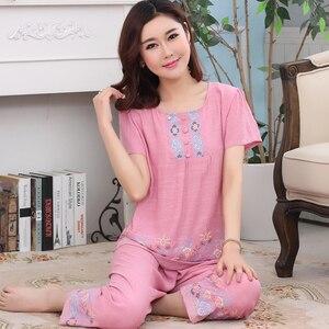 Image 5 - Pyjama dété pour femme, 4XL, ensemble mince, manches courtes, Ventilation pour la maison