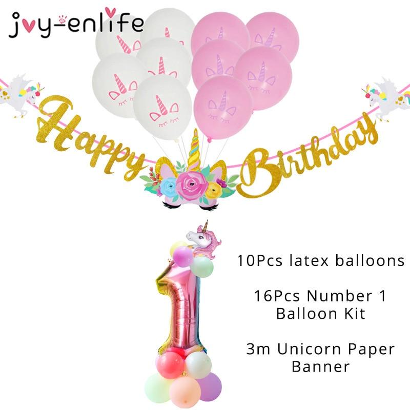 Баннер с единорогом на день рождения, Радужный Единорог, фольгированный шар с цифрами, колонна, украшение для детского дня рождения, украшен...