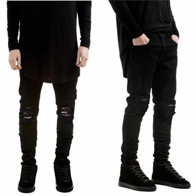 2017 New Black Jeans Strappati Uomini Con Fori Denim Super Skinny Famosi Designer Brand Slim Fit Jean Pantaloni Graffiato Biker Jeans
