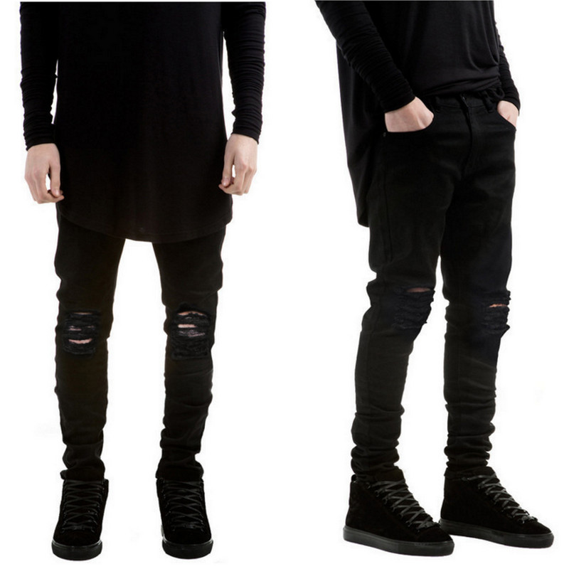 Popular Men Black Ripped Jeans-Buy Cheap Men Black Ripped Jeans