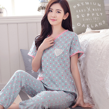 V-neck pullover pure cotton short sleeve length pants sleep set summer quinquagenarian plus size casual lounge