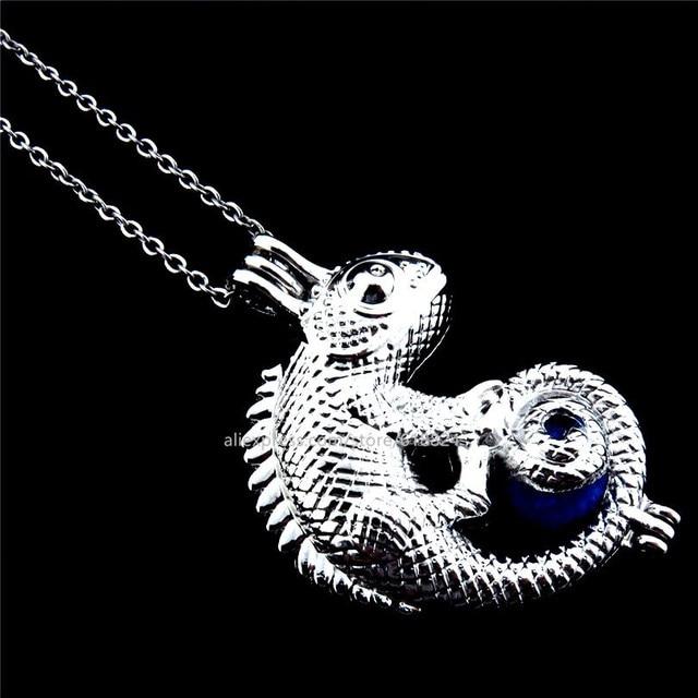 R k240 gothic lizard locket necklace beads cage aromatherapy r k240 gothic lizard locket necklace beads cage aromatherapy perfume essential oil pendants necklaces unisex aloadofball Images