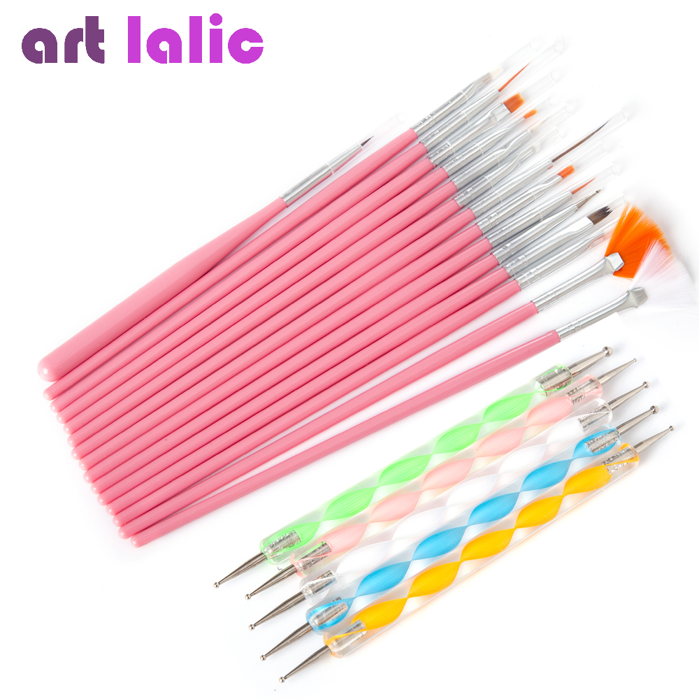 Nail Art Polish Borstar Tool Kit 20st Nails Art Salon Design Set Dotting Painting Ritning Polska Borstar Pen Tools RED