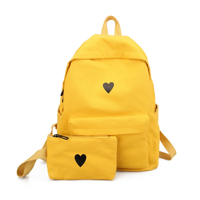 High Quality Canvas Printed Heart Yellow Backpack Korean ...