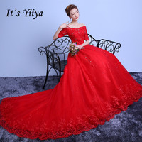Free Shipping Lace Boat Neck Half Sleeves Train Wedding Dresses Red Trailing Bride Gowns Custom Made