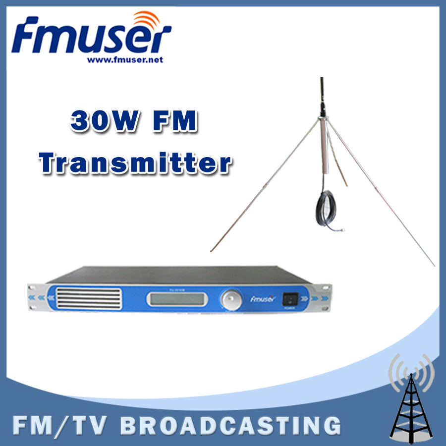 Free shipping FMUSER FU-30/50B 30W PLL professional FM radio transmitter 87 to 108MHZ with 1/4 GP antenna kit free shipping fmuser st 05c 0 1w 0 5w fm transmitter antenna power supply kit
