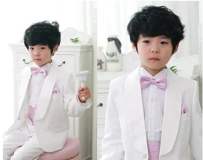 White Shawl Collar Kid's Suits Wedding Party Prom Tuxedos Custome Homme Children Clothing Set(Jacket+Pants+Handkerchiefs+Bowtie)
