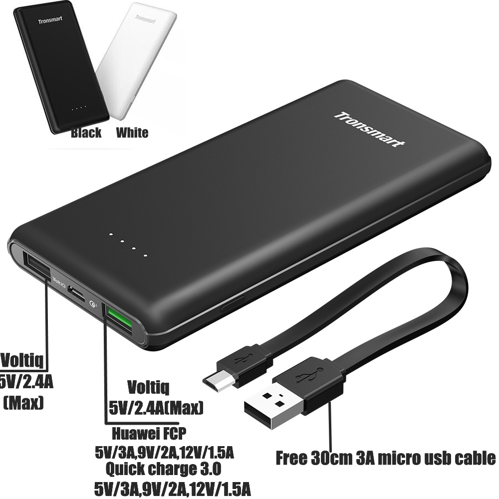 Цена за Tronsmart Presto Quick Charge 3.0 Мощность Bank 10000 мАч QC3.0 Мощность банка 12 В для Xiaomi Mi5 LG Nexus 5X6 P Huawei Galaxy S7 iphone