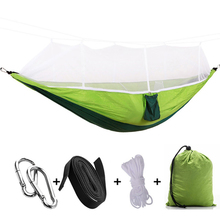 210 T нейлон портативный Открытый Кемпинг гамак с москитной сеткой подвесная кровать Охота спальный качели с сумкой для кемпинга пикника барбекю