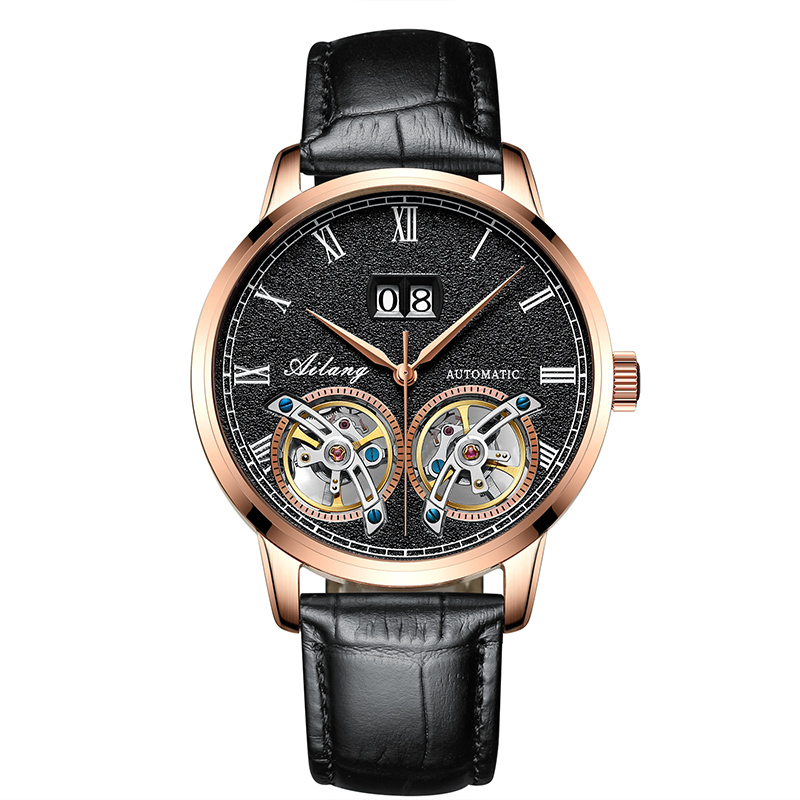 AILANG 8221B Switzerland watches men luxury brand Automatic Double Tourbillon Geneva Genuine Calfskin Tourbillon skeleton