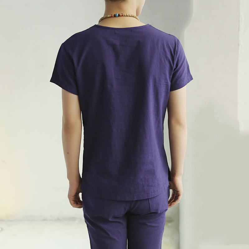 Herre T-shirt Kortærmet Japansk Linned Bomuldstrøje til mænd Blød - Herretøj - Foto 3