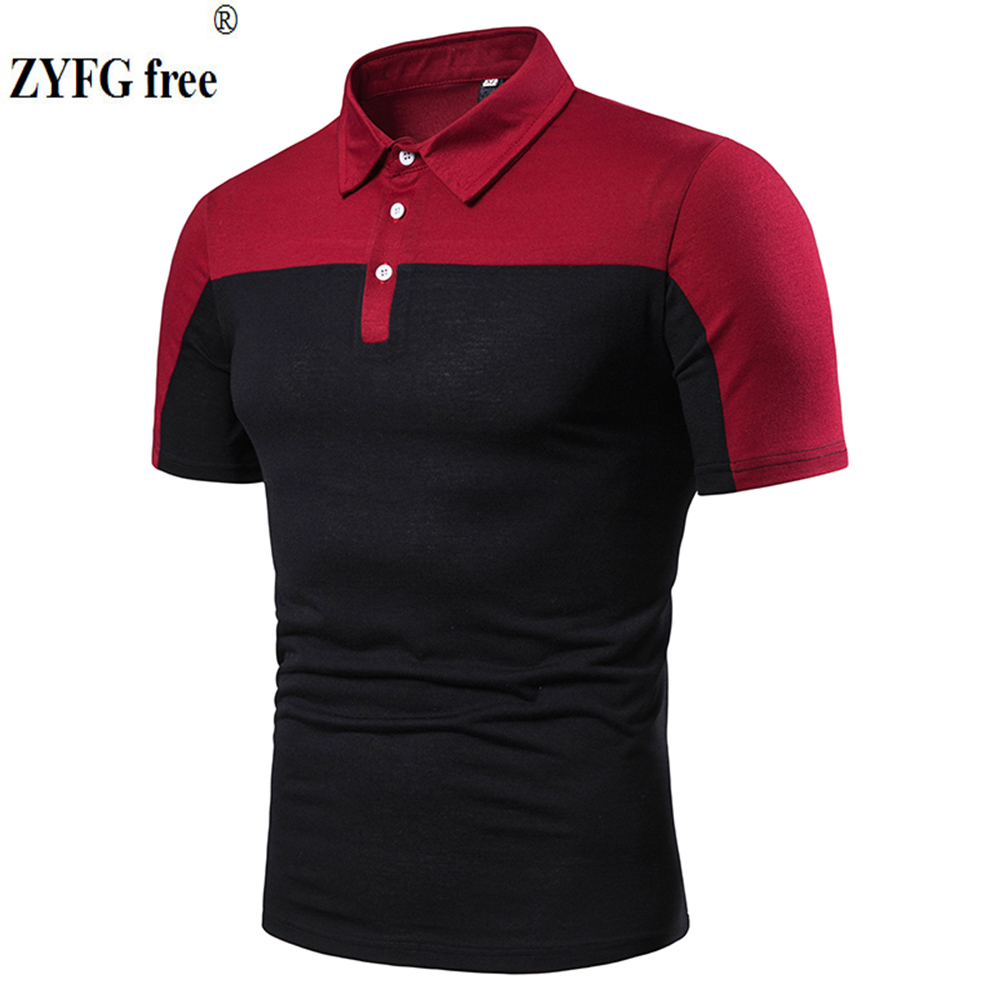 ZYFG free men   polo   shirt short-sleeved casual stitching   polo   shirt slim fit male clothing tops spring and summer