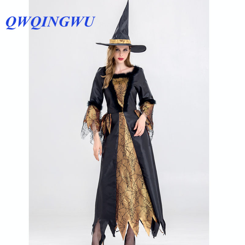 Halloween Dress Cosplay Costumes Scary Vampire Witch Dress Women Medieval Masquerade Costume Black Fancy Maxi Dress Halloween