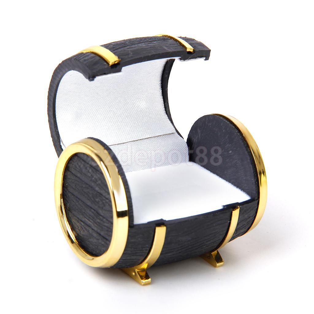 New 2014 Brand New Velvet Ring Earring Jewelry Display Storage Box Gift Case Holder Organizer - Gold Black Beer Barrel Shape
