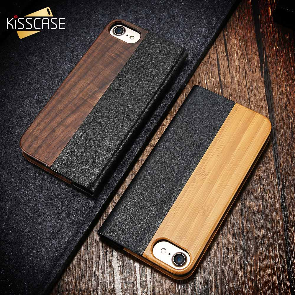 finest selection 25f58 78b66 Details about Bamboo Real Natural Wood Leather Flip Kickstand Phone Case  For iPhone X 8 7 6 S7