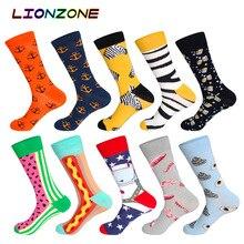 LIONZONE 10 paires/lot Design haute qualité coton créatif coloré marque décontracté hommes longues chaussettes heureuses boîte cadeau drôle + cadeau gratuit