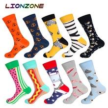 LIONZONE calcetines largos de algodón para hombre, calcetín, 10 par/lote, creativo, colorido, caja de regalo, regalo gratis