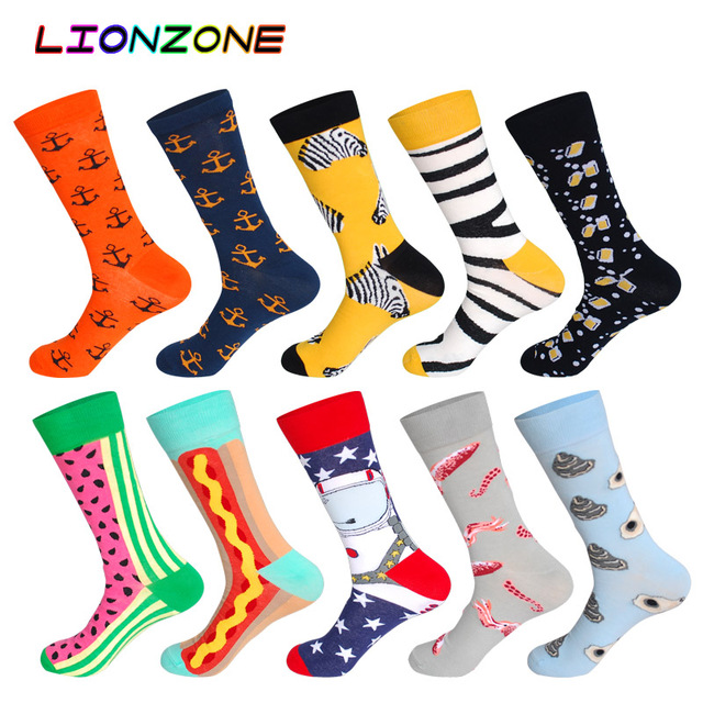 Lionzone 10 ペア/ロットデザイン高品質コットンクリエイティブカラフルなブランドカジュアルメンズロングハッピーソックスおかしいギフトボックス + 送料ギフト