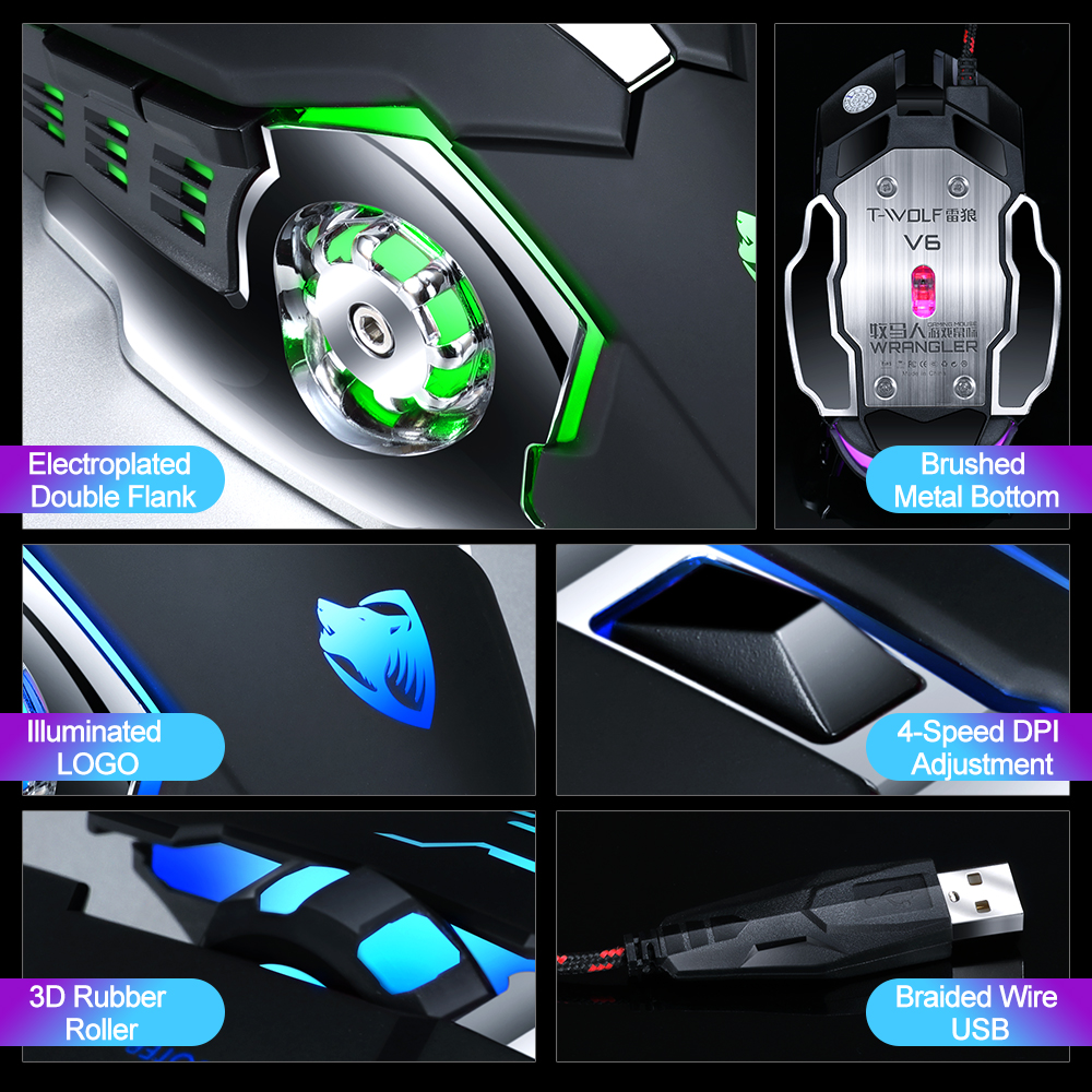 New Red Purple Blue Led Backlight USB Wired Laptop PC Pro Gaming Keyboard Mouse Combo for LOL Dota 2 Gamer Keyboard Mouse Combo in Keyboard Mouse Combos from Computer Office