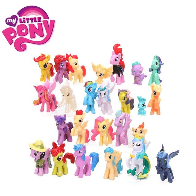25 pcs 3.5-6.5 cm My Little Pony Brinquedos Mini Ação PVC Figures Set Rainbow Dash Pônei Pico dragão Dj Pon-3 Apple Jack Boneca de Brinquedo