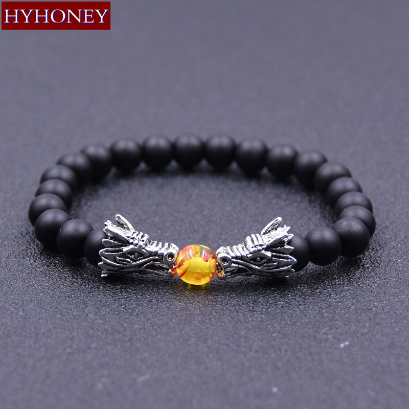 HYHONEY Fashion Jewelry bracelets & bangles Natural Stone 8MM Matte Bead Elastic bracelets Gifts pulseira masculina
