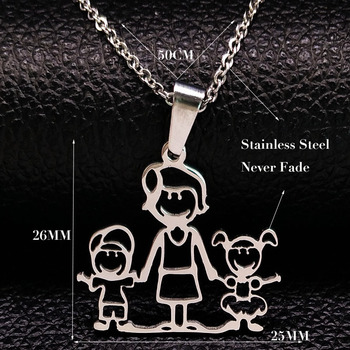 Unisex Family Necklace Jewelry Necklaces Women Jewelry Metal Color: 1mom 1boy1girl