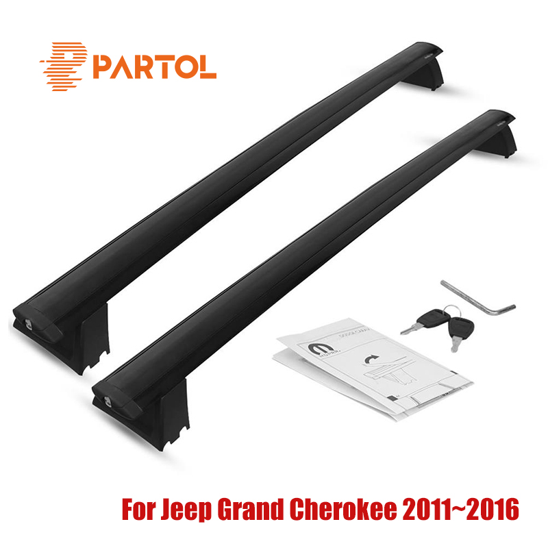 Partol 2Pcs Car Roof Rack Cross Bars 68KG 150LBS Cargo Luggage Snowboard Carrier for Jeep Grand Cherokee 2011-2016 82212072AC partol 110cm universal car roof rack cross bars crossbars with anti theft 68 kg 150lbs aluminum cargo luggage top carrier
