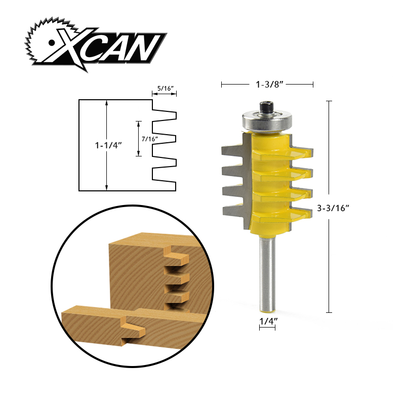 цена на XCAN! 1pc Reversible Finger Joint Glue Joint Router Bit - 1/4 Shank Hobbing Cutters milling cutter