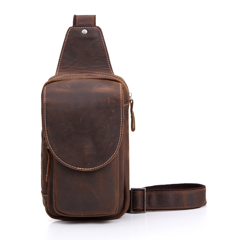 Vintage Men Messenger Bags Crazy Horse Leather Chest Pack Casual Men's Travel Shoulder Bag Simple Real Leather Crossbody Bag J50 casual canvas women men satchel shoulder bags high quality crossbody messenger bags men military travel bag business leisure bag