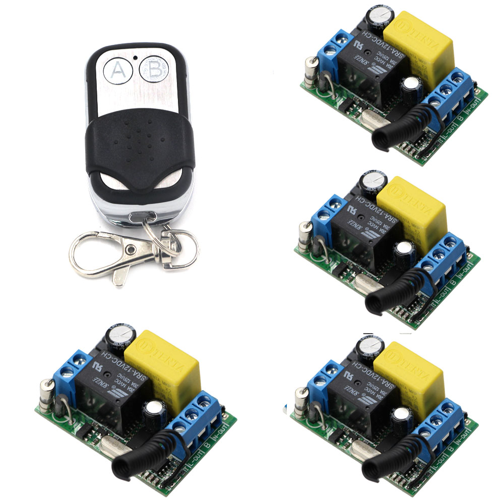 315Mhz 433Mhz AC220V 1CH 10A RF Wireless Remote Control Switch System Transmitter & 4 Receiver Relay Receiver Smart Home Switch new dc12v 10a mini 1ch rf wireless remote control 4 receiver 4 transmitter 315 433 mhz white black remote control with abcd key