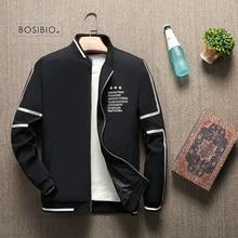 BOSIBIO 2019 Spring Summer Jacket Men Stand Collar Fashion Thin Zipper Coat Male Slim Print Baseball Jacket Bomber M 4XL LH 5