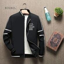 BOSIBIO 2019 весенне летний жакет Для мужчин куртка со стоячим воротником Модная тонкая молния пальто мужской тонкий печати бейсбольные куртки бомберы M 4XL LH 5