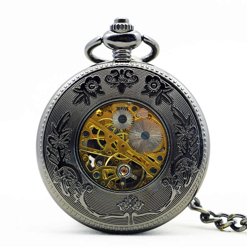 Top Brand Silver Steel Birds Pendant Black Dial Hand Wind Unisex Mechanical Pocket Watch With Fob Chain Watch PJX1148