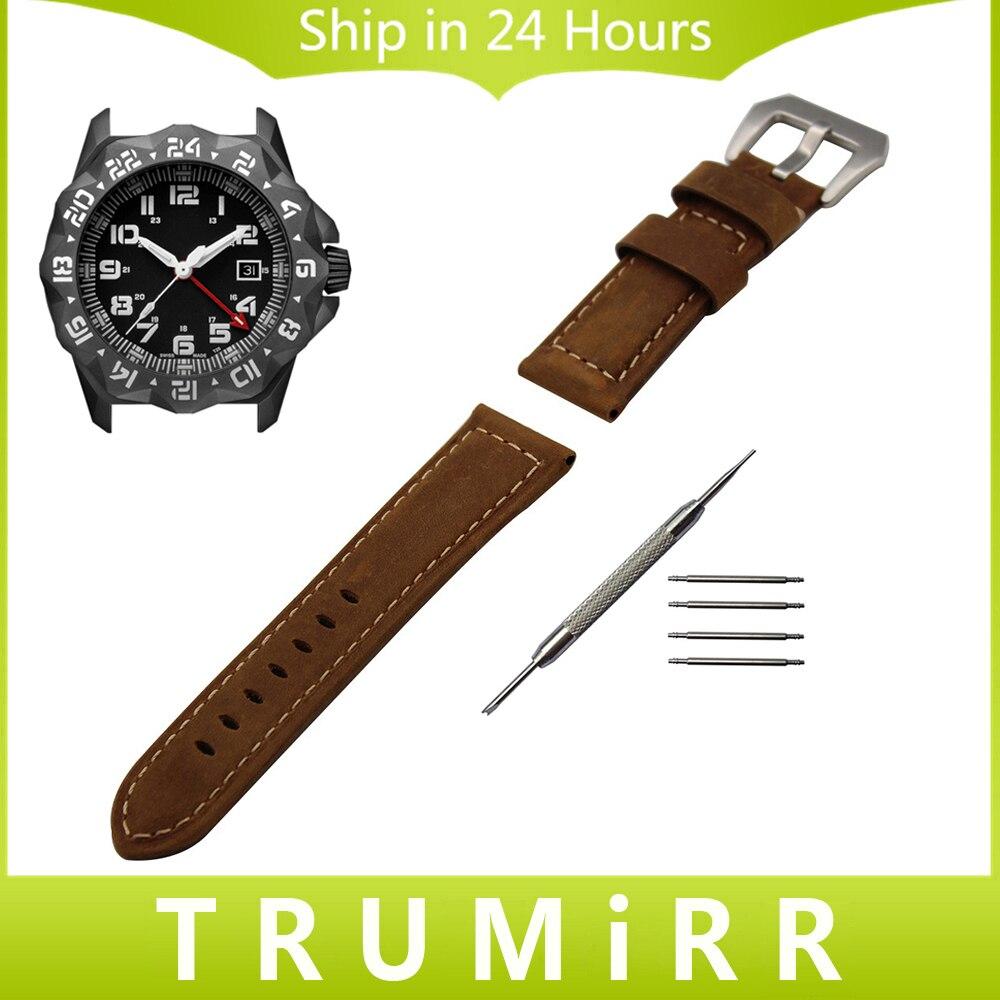 Italian Genuine Leather Watch Band 22mm for Luminox Men Women Wrist Strap Stainless Steel PAM Buckle Wrist Bracelet Black Brown luminox strap fn 3950 36q black orange