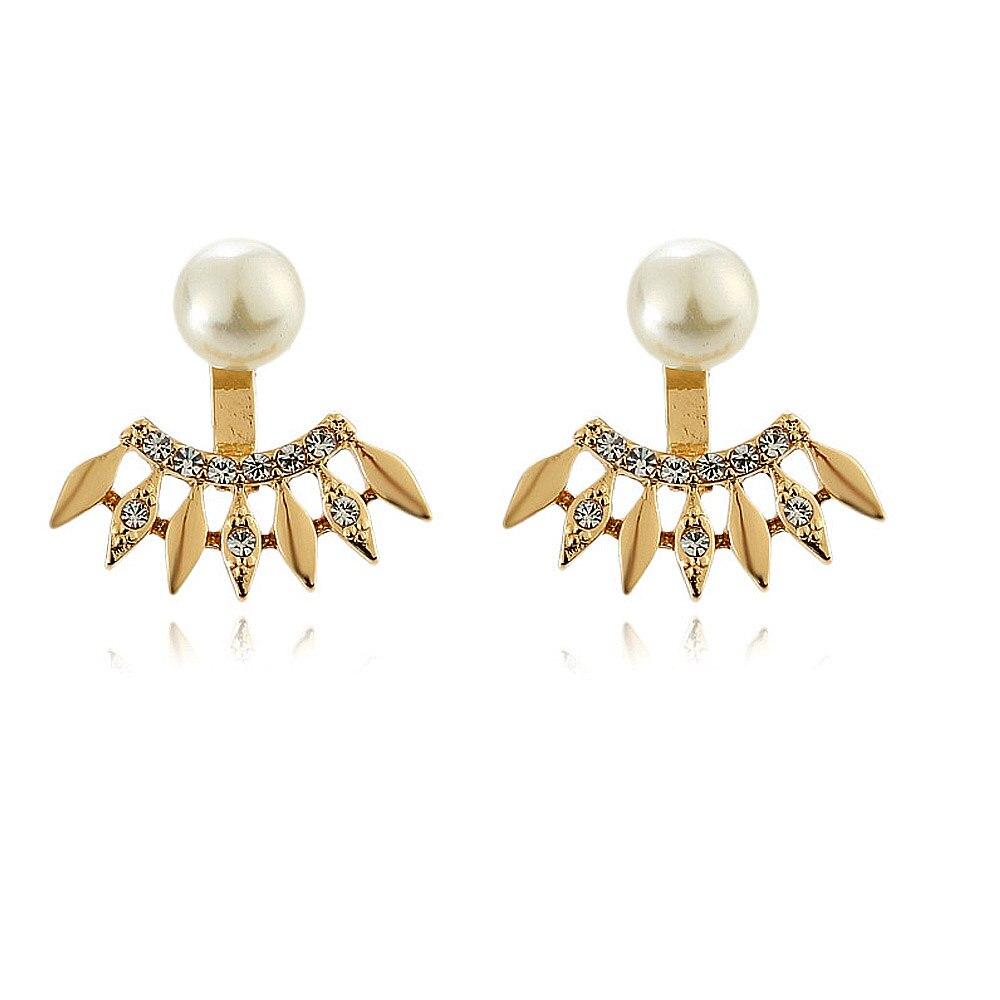 Bing Tu Boucle D'oreille Double Side Imitation Pearl Earrings Women Crystal  Front Back Stud Earring Fashion Ear Jacket