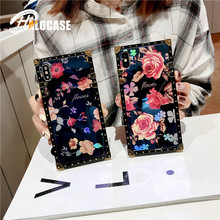 цена на Luxury Blue Ray Rose Flower Case For Huawei P20 Mate 20 Pro Glitter Metal  Square Cases For Huawei Nova5 5i 3 3i 3e P20 P30 Pro